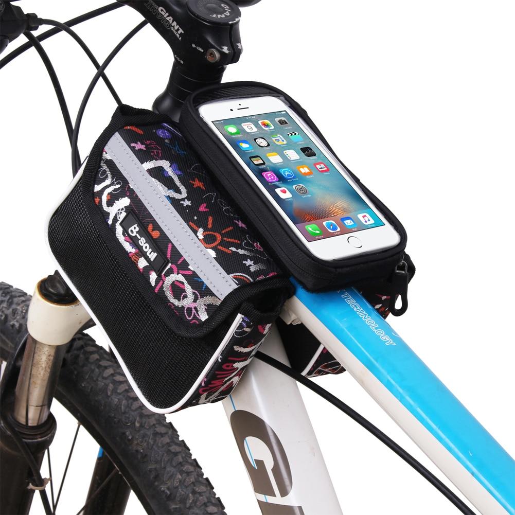 5.5 इंच टच स्क्रीन साइकिल बैग वॉटरप्रूफ फ्रंट टॉप ट्यूब फ्रेम साइकलिंग एमटीबी बाइक बैग पनियर आईपीओ के लिए डबल पाउच