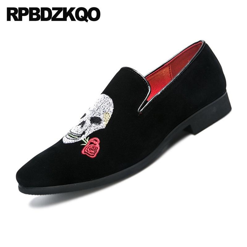 Apontado De Flor Estilo Preto Britânico Sapatos Dedo Crânio Clube Designer Couro Bordado Grande 2018 Floral Camurça vermelho Preto Em Deslizamento Masculinos Tamanho XqPnSR