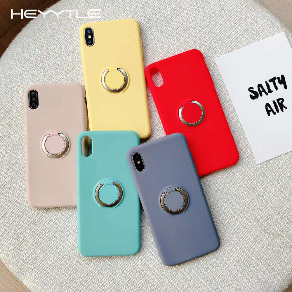 Heyytle Shockproof Case For iPhone XS MAX XR X 8 7 Plus Ring Holder Cases Soft Silicone Protective Full Cover Case 7Plus Coque