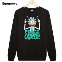 Comic Rick And Morty Free Rick Printing Pullovers Solid Black Thick Warm Fleece Sweatshirt Men Funny