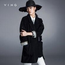 Ving 2017 European Style Autumn Winter Woolen Coats Jacket For Women Long Sleeve Lapel Collar Medium-long Overcoat