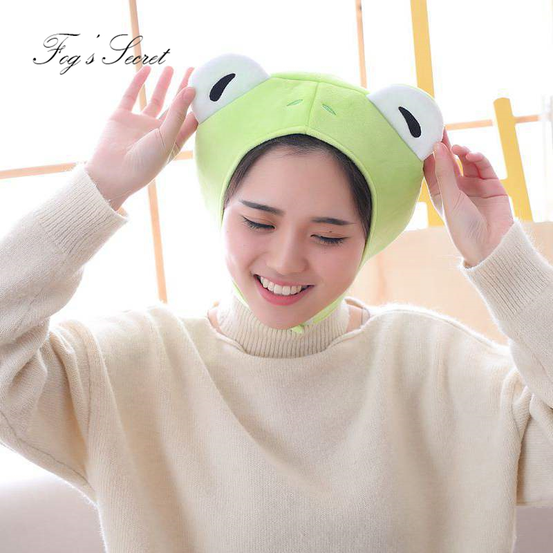 Industrious Warm Hat For Cute Girl Boy Plush Hats With Rabbit Ears Frog Headdress Photo Props For Women Men 2018 White Green Perfect In Workmanship Apparel Accessories