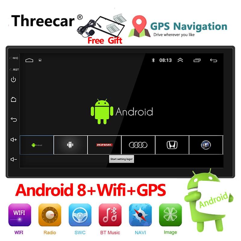"""Авто Радио 2 Din Android 8 gps навигация автомобильное радио стерео 7 """"1024*600 Универсальный Автомобильный плеер wifi bluetooth usb аудио"""