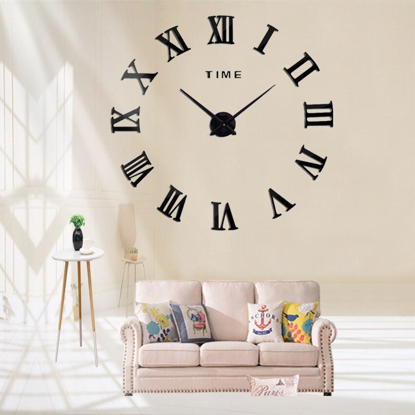 Roman Number Wall Clock Sticker 3D Modern Frameless Style DIY Home Art Decor