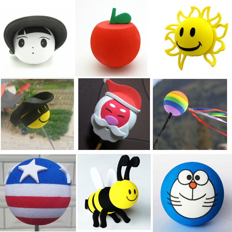 Apple Demon Girls Bee Doraemon Santa Sunflower Cute Funny Cartoon Antenna Balls Aerial Toppers Decor Car Styling Roof Ornament