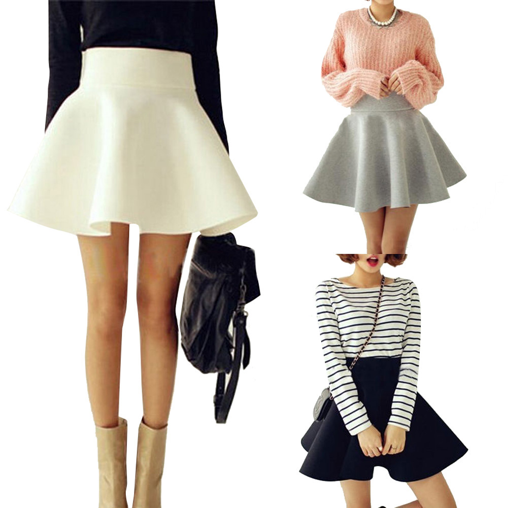 825ca057bcd272 € 8.22  2015 Vintage femmes Stretch taille haute plaine courte évasée  Skater Mini jupe plissée dans Jupes de Mode Femme et Accessoires sur ...