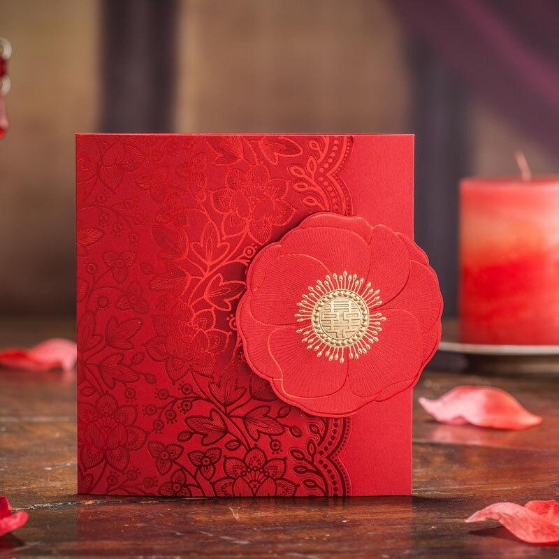 Floral Wedding Card Manufacturer From Hosur: 50pcs/set Hollow Laser Cut Red Rose Flower Wedding
