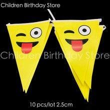 18bd75026359 10 unids lote lengua emoji tema banners emoji banderas de papel banderas  baby shower cute