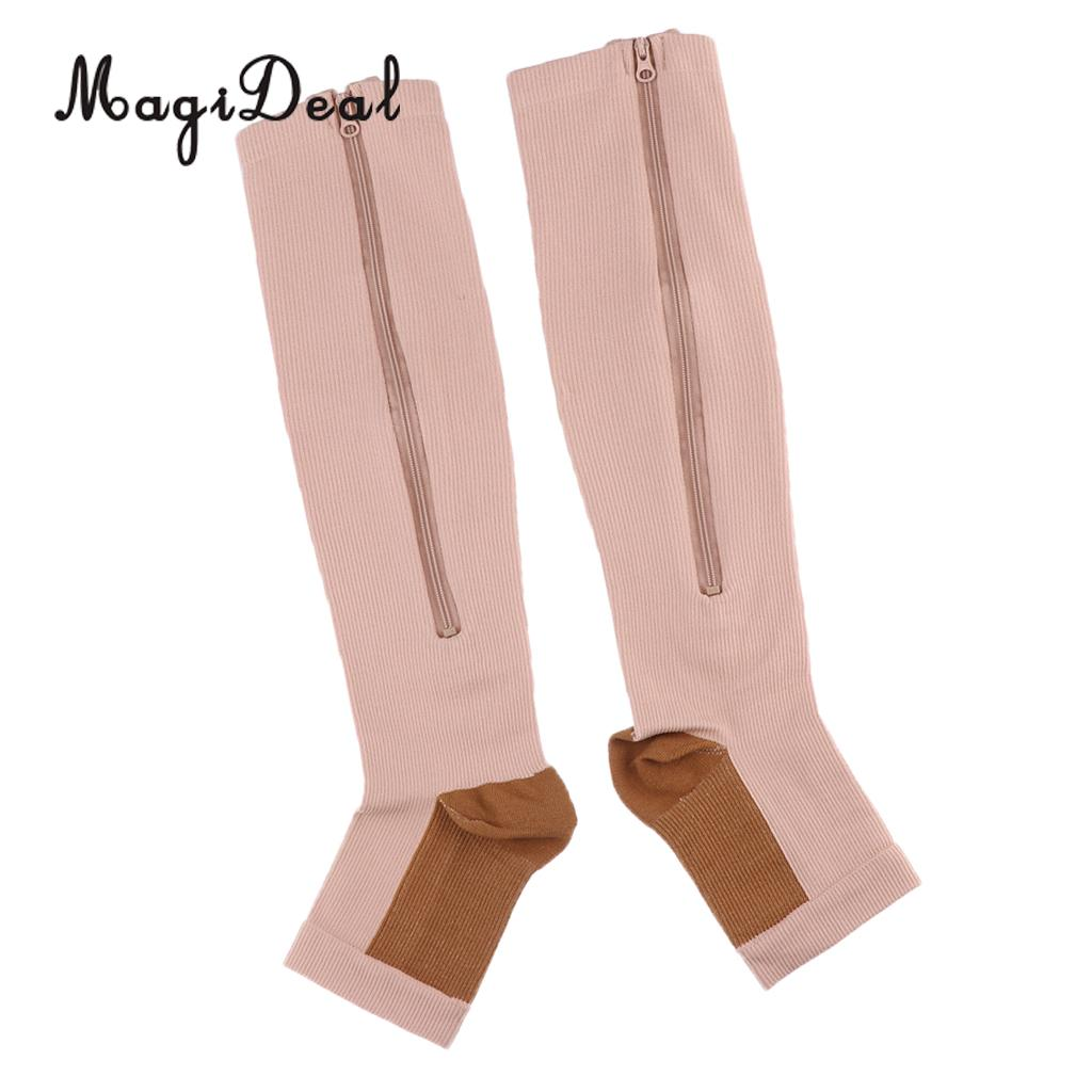 36b7e6468b 1 Pair Copper Mens Womens Compression Socks Calf Leg Foot Support Open Toe  Stockings Knee High Anti Fatigue S M L XL XXL -in Elbow & Knee Pads from  Sports ...