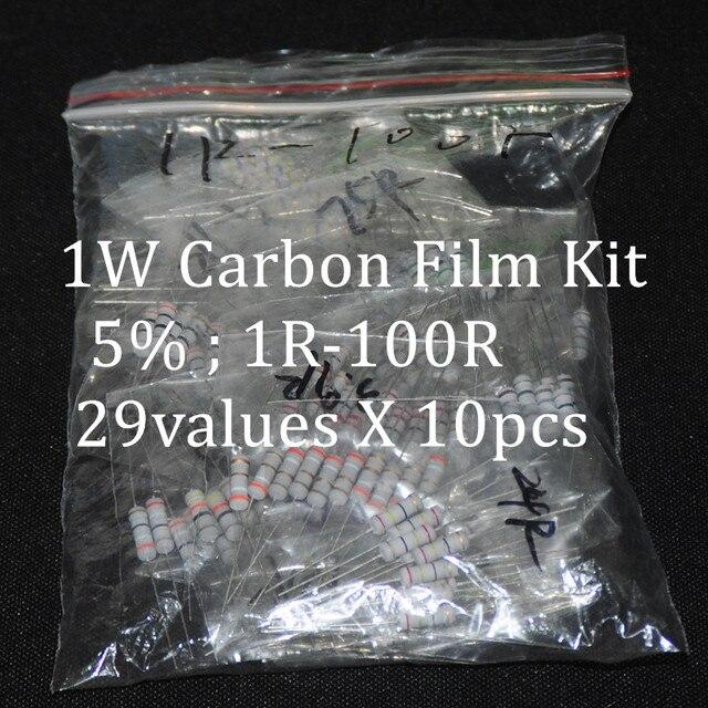 290pcs Resistor Kit 1W Watt 29values X 10pcs Resistencias Resistor Pack Carbon Film Resistance 1-100Ohm OHMs 1-W Carbon Film Set