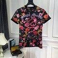 De alta calidad de Las Nuevas Mujeres 2017 Primavera Verano Camiseta Runway Europea Diseñador camisa 2118