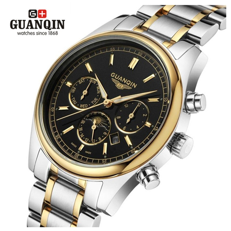 Luxury Watch Men Brand GUANQIN Moon Phase Quartz Wristwatch 24 Hour Week Date Male Clock Stainless Steel Watch erkek kol saati xinew fashion men sports date analog quartz leather erkek kol saati men watch stainless steel wrist watch 0914