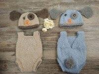 新生児小道具、犬服フルセット、手作り服ドレスロンパース用新生児写真の小道具