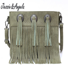 Jiessie&Angela Women Crossbody Bag Tassel Handbag Small Flap Messenger Bags Vintage Designer Shoulder