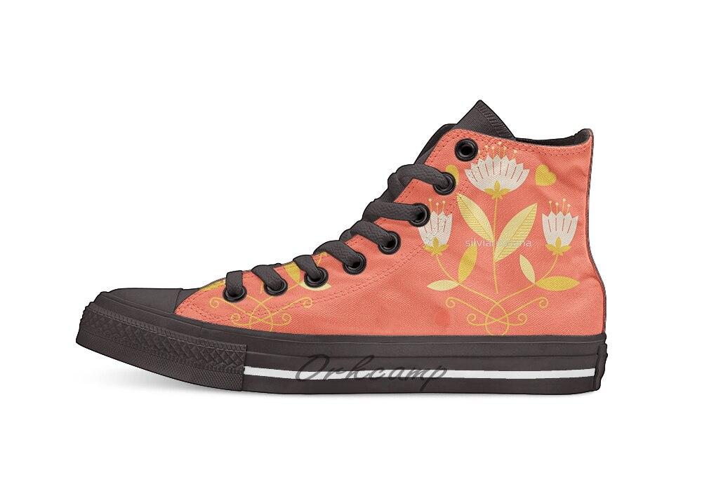 Повседневная дышащая парусиновая обувь на шнуровке с высоким берцем и цветочным рисунком, 3 дизайна