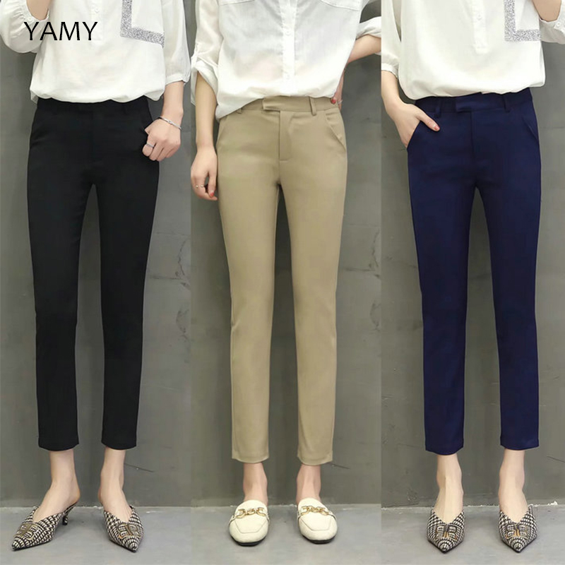 Womens Office   Pants   Trousers Skinny Khaki Black Pencil   Pants     Capris   High Waist Casual Basic Pocket   Pants   Streetwear Formal   Pants
