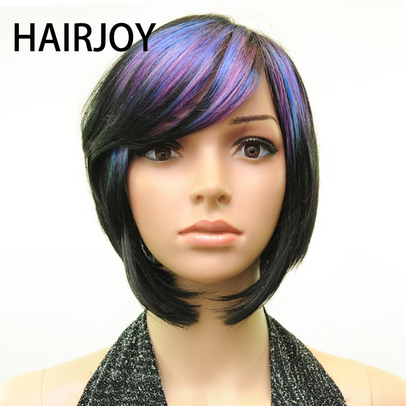 HAIRJOY Women Synthetic Hair Wig 3-Tone Muti Color Bangs  Short Straight Wigs Heat Resistant Fiber 10 Colors Available