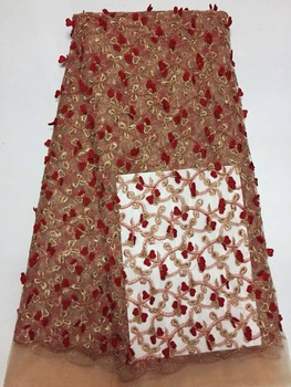 Red george lace fabric indian george with sequins,new design african george lace fabric for dress laces AMZ697
