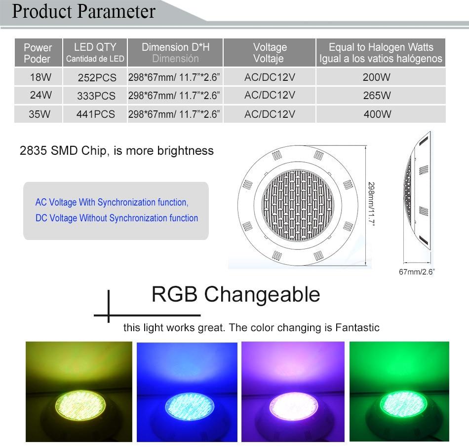 RGB LED Luz de la piscina IP68 Lámpara montada en la pared Piscina - Iluminación exterior - foto 3