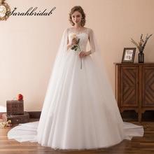 Cantik Putih Long Trailing Wedding Dresses Lace Appliques Ball Gown Jubah Pengantin Pakaian Tulle Tanpa lengan Pengantin Pakaian SQS064