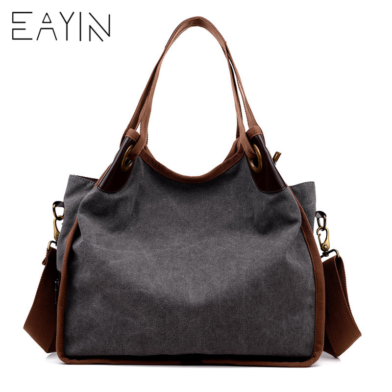 EAYIN 2018 New Ladies Vintage Casual Shopping Totes Bag For Girls Canvas Shoulder Messenger bags Large Capacity Women Handbags