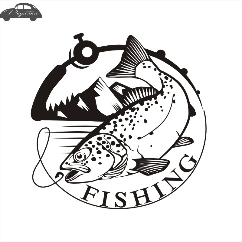 Pegatina Trout Fish Fishing Car Decal Squid Posters Boat Decals Decor Mural Wall Sticker Angling Hooks Shop Vinyl