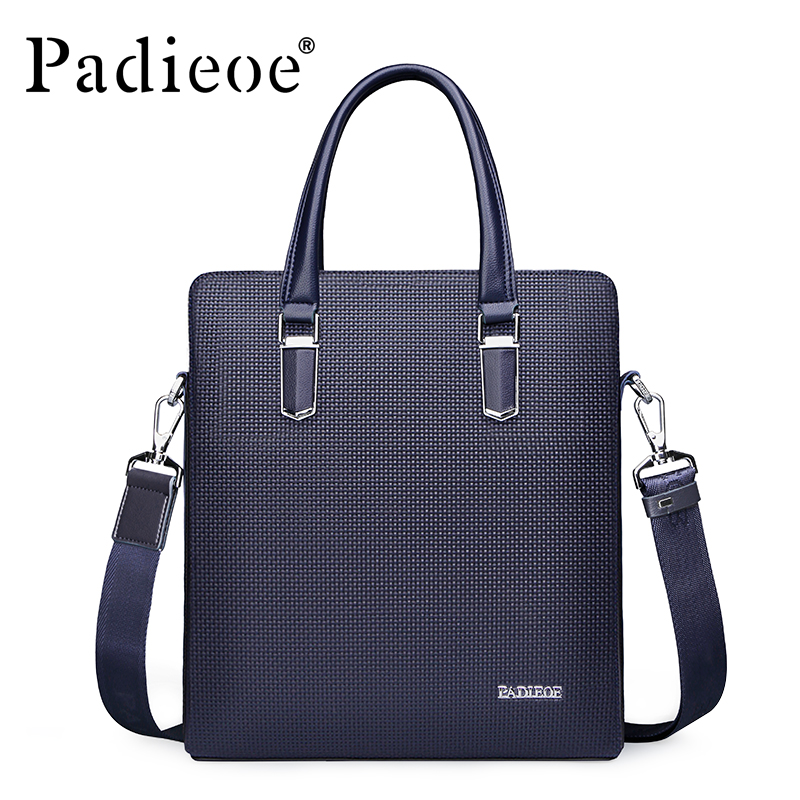 Padieoe Men Shoulder Bags Genuine Leather Briefcase Brand Men s Messenger Bag Business Handbag Crossbody