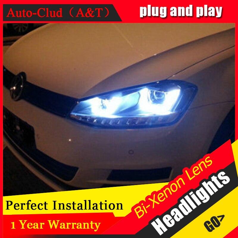 Clud automatique pour vw golf 7 phares Double U Angel yeux DRL pour vw golf 7 voiture style H7 bi xénon lentille parking lumière LED guide