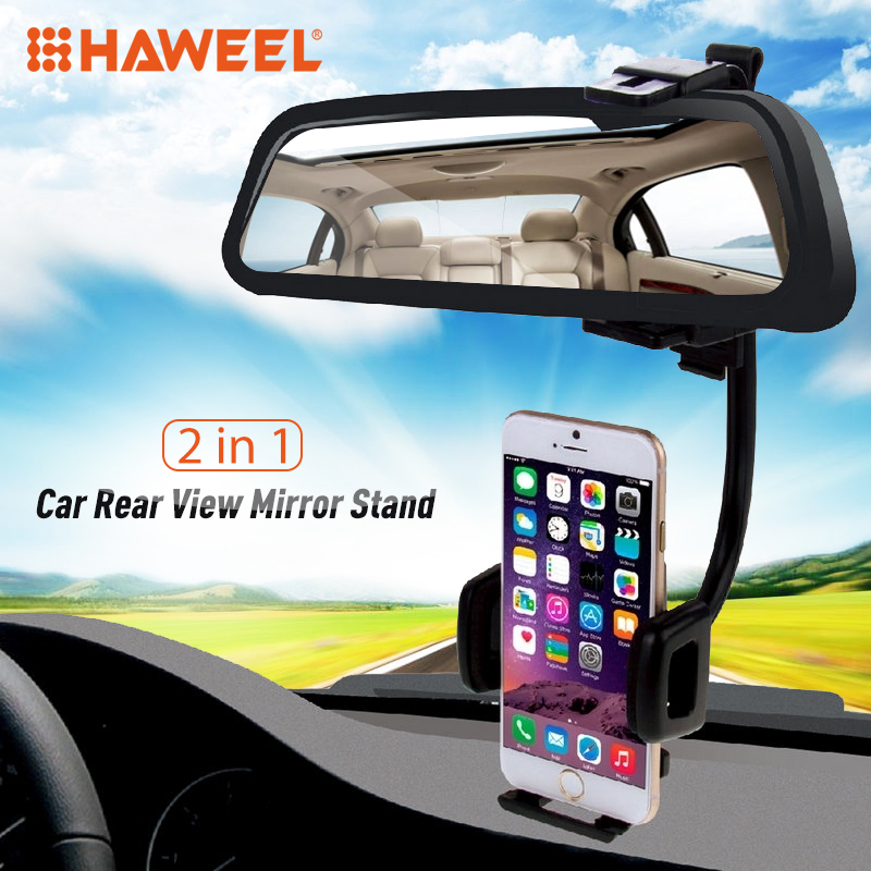 Galleria fotografica HAWEEL 2 in 1 Car Rear View Mirror Stand Phone Mount Holder For iPhone/Samsung/Clamp Size 40-80mm Smartphones Car Holder