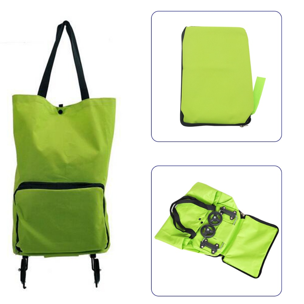 1PCS Shopping Trolley Bag With Wheels Portable Foldable Shopping Bag Luggage Bag Packet Drag Collapsible Travel