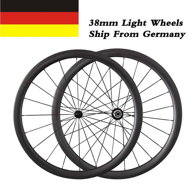 Nave Da Germania 23mm Larghezza 38mm profondità Copertoncino Powerway R13 Mozzi Ruote In Carbonio 700C Bici Da Strada Da Corsa Ultra luce Wheelset