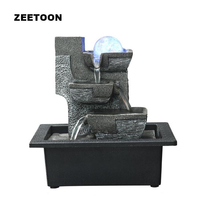 110 В-220 В Европа светодиодный мини настольный фонтан увлажнитель воздуха фэн-шуй хрустальный шар воды Особенности Lucky Домашний Декор бизнес ...