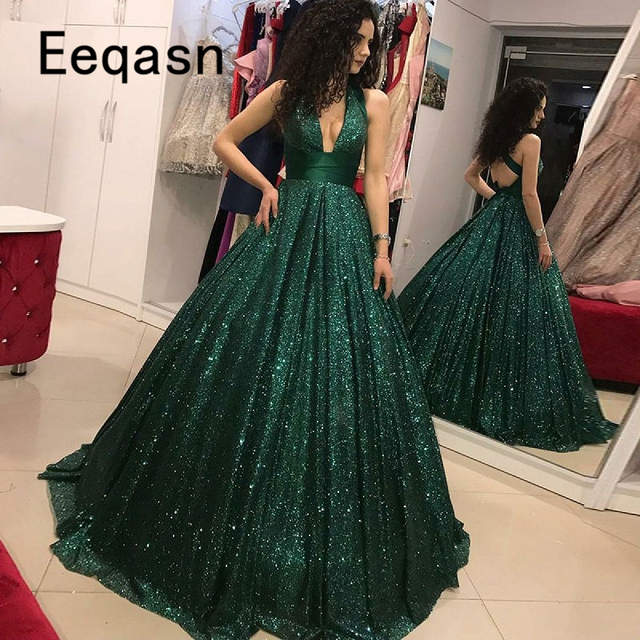 Sparkly Green Sequin Prom Dresses Elegant Deep V Neck Ball Gown ...