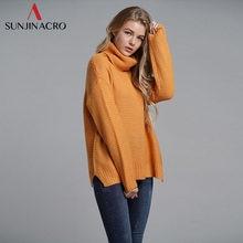 30a6228753 SUNJINACRO Otoño Invierno mujeres suéteres de manga larga Casual suéter  Delgado sólido tejido cuello alto Jersey femenino