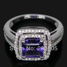 Vintage Princess 7mm 14K Solid Gold Diamond Engagement Amethyst Wedding Ring,585 White Gold Amethyst Ring For Sale 2T018(China)