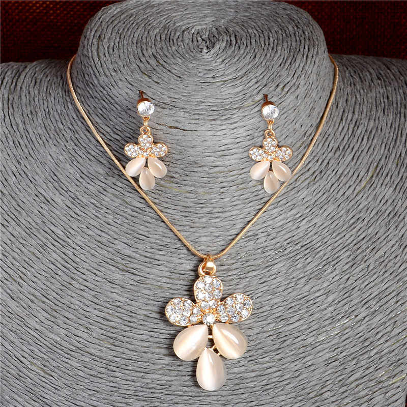 Korean Fashion Crystal Pendant Necklace Women Stud Earrings Opal Cat's Eye Stones Flower Jewelry Sets Wedding