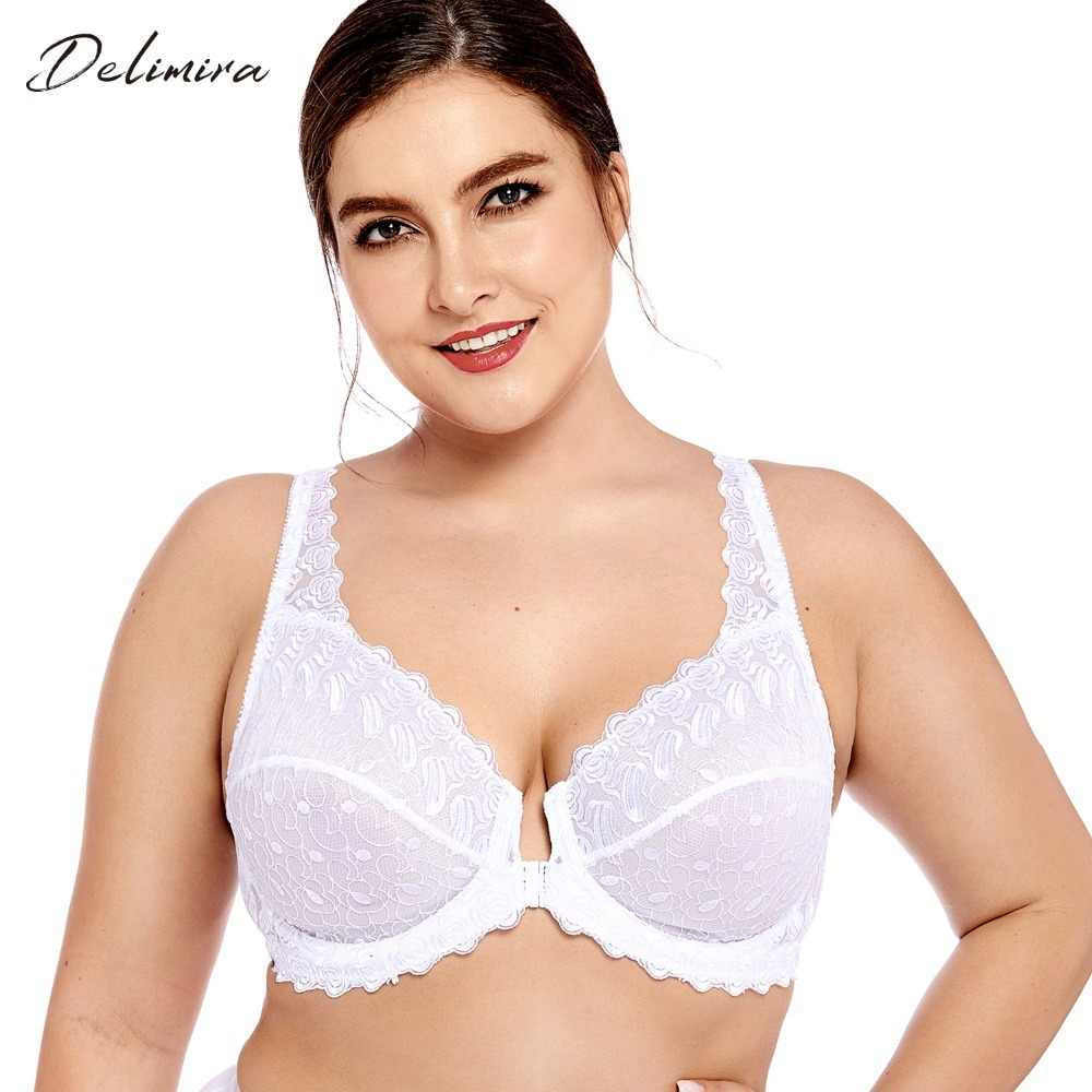 Delimira Women's Plus Size Full Coverage Support Unlined Embroidered Front Close Underwired Lace Bra
