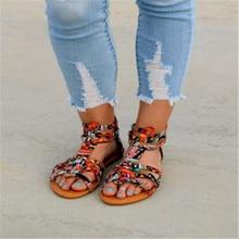 Adisputent Bohemian Women Flat Shoes Summer Roman Sandal  Sandalias Mujer  Female Beach Flat Plus Size