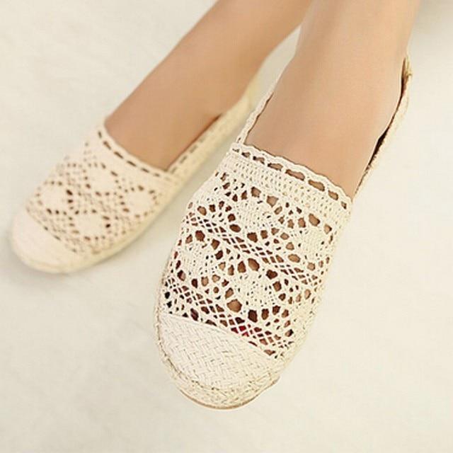 Бесплатная доставка новые женщины повседневная плоские туфли мода slip on круглым носком мокасины кружева вырезы соломы конопли веревки холст обувь