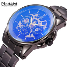 Vintage Black Stainless steel Strap Men Wristwatch Skeleton Clock Male Antique Steampunk Casual Automatic Mechanical Watches