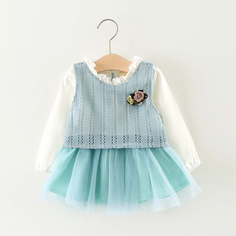 Baby girl dress kids Ball Gown 2018 autumn Baby childrens costumes Fake two piece dress  ...