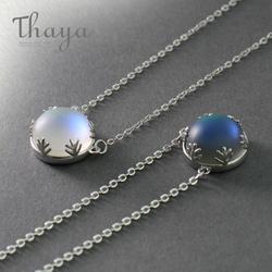 Тайя 55 см Aurora подвесные Цепочки и ожерелья Halo кристалл драгоценный камень s925 серебряная шкала легкое ожерелье для Для женщин элегантные
