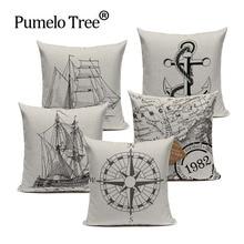 Fundas de cojín personalizables estilo del océano Vintage funda de almohada sofá Simple blanco negro cojines decoración nórdica hogar