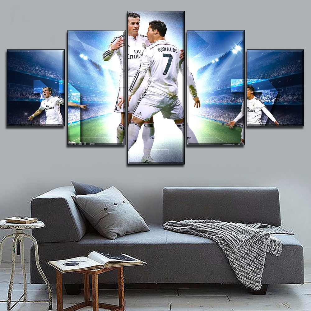 4 piezas HD impreso jugador de fútbol Cristiano Ronaldo pintura lienzo pared arte decoración del hogar Cristiano Ronaldo Póster