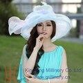 Envío de La Manera Verano de Las Mujeres Sombrero Sombrero de Organza Tela de Organza de Novia Vestido de Las Mujeres Del Verano Vestido de Flores de Dos Colores de Tono
