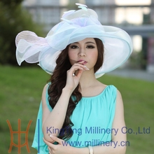 Free Shipping Fashion Women Summer Hat Organza Hat Organza Fabric Wedding Summer Dress Women Dress Flower