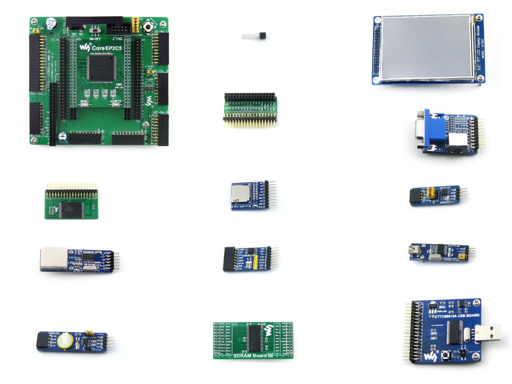 OpenEP2C5-C Package A # EP2C5 EP2C5T144C8N Cyclone II ALTERA FPGA Development Board + 13 Accessory Modules Kits altera cyclone board ep2c5 ep2c5t144c8n altera cyclone ii fpga development board 19 accessory kits openep2c5 c package b