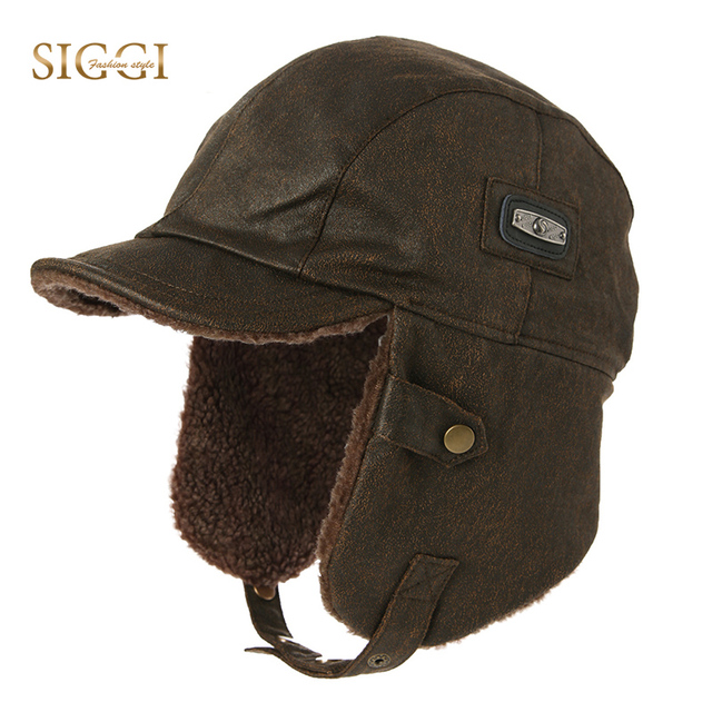 FANCET chapeau bombardier unisexe pour hommes, chapeau de pilote daviateur, protège oreilles, coupe vent, Ushanka, chapeau de chasse 88115