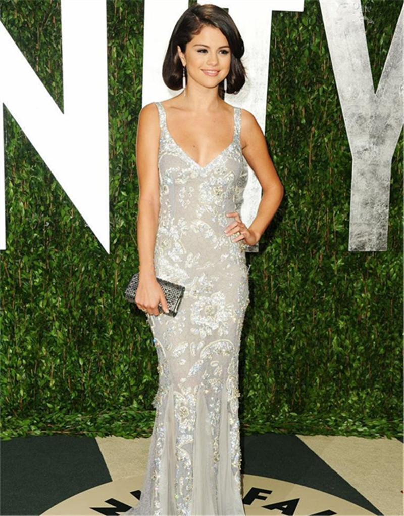 Selena Gomez Red Carpet Silver Dress