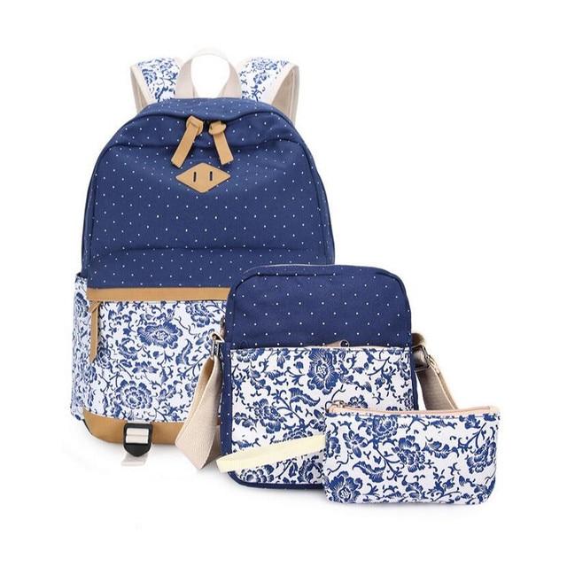 3 pcs female flower canvas backpack girls school bags kids floral pen bag  set ethnic backpacks for teenage girls laptop bag 15.6 86c5ecdf1a